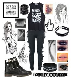 """All Black Tag"" by rainbow-unicorn-farts ❤ liked on Polyvore featuring See by Chloé, Grotesk, Chictopia, Forever 21, High Heels Suicide, Mia Bag and Karl Lagerfeld"