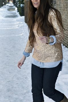Dark, demin, oxford, and sequins -- and long brown hair Sparkly Outfits, Sparkly Clothes, Sequins And Stripes, Gold Sequins, Sparkly Sweater, Fashion Outfits, Womens Fashion, Ladies Fashion, Parisian Chic
