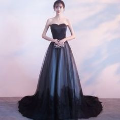Amazing / Unique Black Prom Dresses 2017 A-Line / Princess Strapless Lace Tulle Appliques Backless Prom Formal Dresses