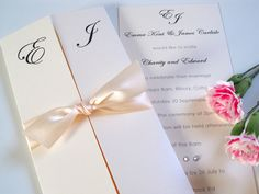 'Canonbury' gatefold invitation with satin ribbon and diamantes by Little Angel Weddings