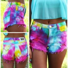 summer daze tie dye cutoffs. zazumi.com