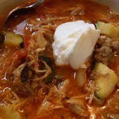 """Creamy Chorizo and Chicken Soup   """"This is my favorite soup recipe on this website! It is so good- you cant go wrong!! The combo of chicken and chorizo then the sour cream and parm at the end. Its amazing. Do not forgot the sour cream and parm- it makes the soup!"""""""