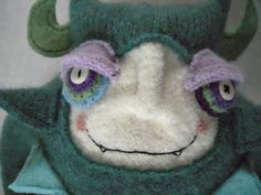 Stuffed Animal Monster Made from Upcycled Green Wool Sweater