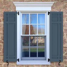 New farmhouse style house exterior shutters ideas Exterior Shutter Colors, Window Shutters Exterior, Outdoor Shutters, Exterior House Siding, House Shutters, Craftsman Exterior, Wood Shutters, Exterior House Colors, Exterior Doors
