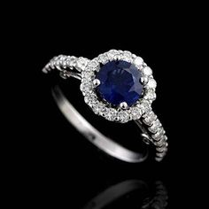Diamond Sapphire Engagement Ring 18K White Gold by OroSpot on Etsy, $1,699.00