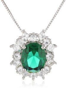 """Sterling Silver Simulated Emerald and Created White Sapphire Pendant Necklace available at joyfulcrown.com"""""""