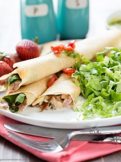 Baked Ham & Cheese Crepes - perfect for brunch! ~ http://www.garnishwithlemon.com