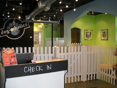 "cool fences and LOVE the ""check in"" chalkboard in front desk- could write each incoming guest's name there too"