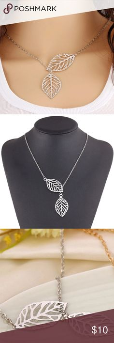 """🍃Leaf necklace 🎁free with purchase above 15$ Zinc alloy , approx 15"""" long , pendant :2""""        🎁free 🎁with purchase above 15$ Jewelry Necklaces"""