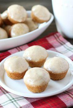 Mini Eggnog Doughnut Muffins Recipe on twopeasandtheirpod.com We make these muffins every December! SO good!
