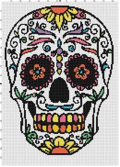 Sugar Skull Day of the Dead, Dia De Los Muertas - Cross Stitch Pattern - Instant Download