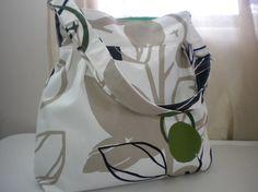 Handbag in Green Fruit Tree Canvas