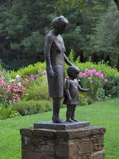 """Pearl S.Buck and Child. """"Mother and Child"""" bronze sculpture by Madeline A. Smith at the Pearl S. Buck House in Perkasie, Bucks County, Pennsylvania"""