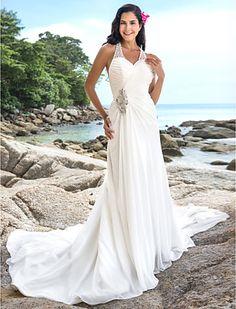 Sheath/Column V-neck Chapel Train Chiffon Wedding Dress - USD $ 149.99