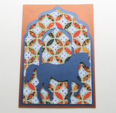 Handmade Card/ Birthday Card/ All Occasions Card - With Bright Blue Horse on Moroccan Theme Paper by SilverGlowDesigns on Etsy