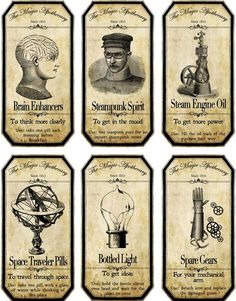 Halloween Steampunk Assorted Bottle Label Stickers Set of 6 Glossy Paper | eBay