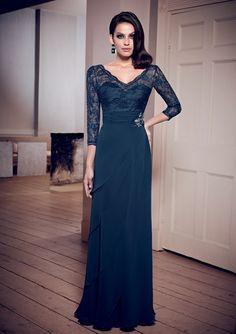 elegante Linha A Em V 3/4 Length Brilhantes Renda Franzido Comprido Chifon Mother of the Bride Dresses