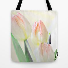 Delicate #tulips . Tote Bag by Mary Berg - $22.00 #totebags #society6 #flower #white #pink #green #women