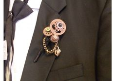 Steampunk Boutonniere, gears, industrial age - TheWeddingMile.com