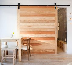 a more modern barn door Architectural Elements: Sliding Barn Doors: The Doors, Wood Doors, Sliding Doors, Entry Doors, Interior Barn Doors, Home Interior, Interior Design, Pallet Door, Barn Style Doors