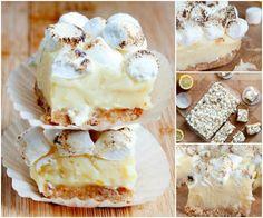 No Bake White Chocolate Lemon Meringue Pie Bars - white chocolate lemon cream with toasted mini marshmallows on buttery crust Lemon Desserts, Lemon Recipes, No Bake Desserts, Just Desserts, Sweet Recipes, Baking Recipes, Cookie Recipes, Delicious Desserts, Dessert Recipes