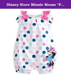 "Disney Store Minnie Mouse ""Polka Pal"" Pink & Blue Dots Woven Romper for Baby. Polka pal. Your cutie will take the spotlight in Minnie's sweet-as-can-be romper! Adorned with patterned polka dots and bows, this lovely romper is certain to bring style and comfort to every occassion Allover polka dot print Minne Mouse appliqué with embroidered details Bows at shoulders Elastic cuffs Three button placket at back Snaps at inside leg Part of the Minnie Mouse Collection for Baby 100% organic…"