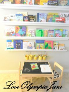 Rain gutter shelves to display books. Ikea rod and buckets to display some art supplies?