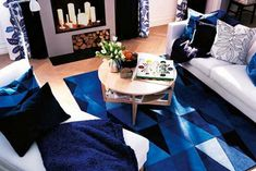 Best White And Blue Interior Decorating Design Ideas Living Room On A Budget, Diy Home Decor On A Budget, Living Room Remodel, Cozy Living Rooms, Living Room Bedroom, Living Room Decor, Living Area, Ikea Stockholm, Studio Apartments