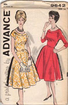 Vintage Original Advance Ladies Knee Length Dress Sewing pattern. Pattern is unused with original factory folds. Pattern by: Advance # 9642 Pattern: Complete w/Instructions Date: ca. 1960's Original P