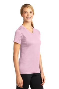 Show some spirit in a shade of the 2016 color with the Sport-Tek® Dri-Mesh® Ladies V-Neck T-Shirt.