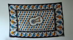 "Rare Vintage East African Kanga blue yellow white patterned design african wax print textile panel wall art - ""Hithadi Utumaduni Wetu"" by TamiahDesigns on Etsy"