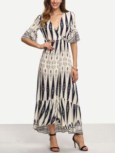 Multicolor Print Half Sleeve Split Maxi Dress -SheIn(Sheinside)