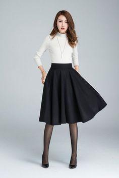 Wool circle skirt black skirt winter skirt skater skirt knee length skirt woman skirt pleated skirt classic skirt made to order 1633 Mode Outfits, Fashion Outfits, Womens Fashion, Fashion Skirts, Girly Outfits, Black Circle Skirts, Circle Skirt Outfits, Skater Skirt Outfits, Black Skirts