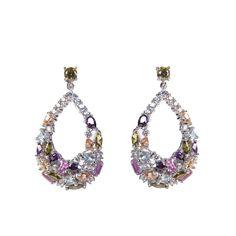 Orecchini in #argento con zirconi multicolore Silver multicolor zirconia #earrings by #Ultimaedizione. Colorful days!