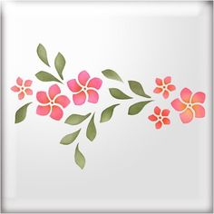 The Stencil Studio Frangipani Flower Border Reusable Stencil - Size Large (A2) (10137L)