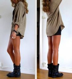 Wearing booties with flannels and shorts... Simple idea