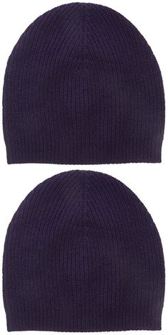 Bela.nyc Women's Cashmere Ribbed Beanie, Plum, One Size