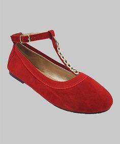 Another great find on #zulily! Red Heidi T-Strap Flat #zulilyfinds