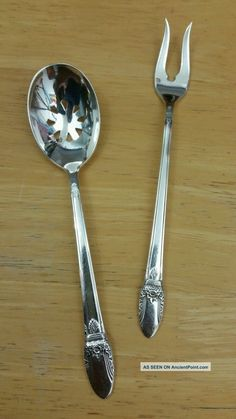 Silverplate International Silver,1950s Vintage 1847 Rogers IS Pickle Fork and Berry Spoon