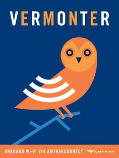 This is an Amtrak ad for their free Wifi on their Vermont trains. Love the imagery, they have a whole series dedicated to Free Wifi. I thought this was a very creative way to communicate something simple. Vermonter WiFi Ad by Andrew Bannecker. Wifi Service, Ad Design, Graphic Design, Logo Design, Usa News, Print Ads, Travel Posters, Railway Posters, Vintage Travel