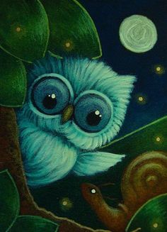 Art 'TINY OWL MET A SNAIL 2' - by Cyra R. Cancel from  | (Search Results for 'owl')