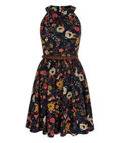 Navy Floral Belted Fit & Flare Dress