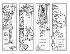 Animals Printable Color Bookmark