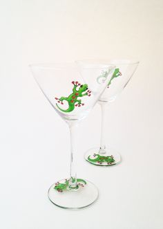 Pair of Green Gecko Cocktail Glasses  £18.00
