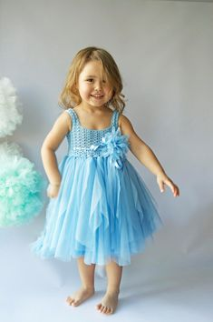 Blue Tulle Dress with Empire Waist and Stretch by AylinkaShop