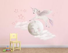 STUNNING HAND PAINTED MURAL AT THE PRICE OF WALL DECALS Unicorn, Clouds, Moon, Stars SIZES (in inches): Unicorn jumping over the moon: 36 x 33 Moon: 26 x 26 8 different sized stars 2 clouds: 20.5 x 11, 22 x 13 Would suit any wall size as you place them all where ever you like
