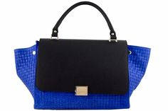 Etasico Rosalita Italian Leather Trapeze Woven Handbag Color Blue Black. #EtasicoRosalita #Etasico #BagMadness
