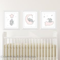 Safari Nursery Decor - Star Nursery Prints - Elephant and Stars - Set of 3 Prints - Elephant Nursery Decor - Safari Animal Prints Elephant Baby Rooms, Elephant Nursery Decor, Star Nursery, Nursery Prints, Girl Nursery, Art Blue, Pink And Gray Nursery, Princess Nursery, Photo Wall Art