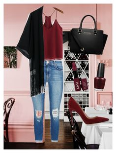 """""""Valentines ootd"""" by justine-frial on Polyvore featuring OPI, MICHAEL Michael Kors, NYX, Gianvito Rossi and J Brand"""