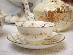 Stunning Victorian English cabinet cup and saucer, with beautiful handpainted gilding. perfect vintage gold china